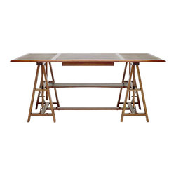 Jean-Pierre Desk - A handcrafted walnut desk with leather inserts, adjustable top height and classic construction with traditional joinery. Net pricing is available to the design trade. Please visit helene aumont's website for sizing and showrooms near you.