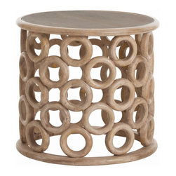 Arteriors - Kamal Side Table - Circles of handcrafted wood are assembled to create the base of this round wooden side table in a natural finish. If you turn it upside down, it can hold a very large potted plant.