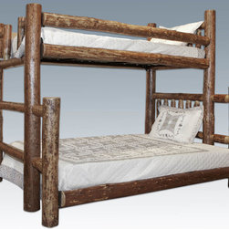 """Montana Woodworks - Glacier Country Bunk Bed, Twin/Full - This wonderful twin over full bunk bed provides for a bit more room in the bottom bunk. The full bunk bed on the bottom being wider, extends past the width of the twin upper bunk. This """"extension"""" can be ordered either right or left. Standing facing the footboard, a right extension will extend to the right, a left extension will extend to the left. Both the upper and lower bunks come with a """"bunky board"""" mattress support. Maximum recommended mattress thickness for the top bunk is 6"""". Skilled craftsmen patiently finish the bed in the """"Glacier Country"""" collection style for a truly unique and one-of-a-kind- look reminiscent of the Grand Lodges of the Rockies, circa 1900. We remove the outer bark while leaving the inner, cambium layer intact for contrast and texture. The finish is completed by an eight step, professional stain and lacquer process. Mortise and tenon joinery throughout. Careful assembly by hand ensures the bed will last a lifetime. For safety reasons, the upper and lower bunks cannot be separated. Headroom between lower and upper bunks is approximately 44 inches. Footboard features built in ladder. Some assembly required. 20-year limited warranty included at no additional charge. Hand Crafted in Montana U.S.A.; Solid, U.S. grown wood; Unique, one-of-a-kind Glacier Country style.; Heirloom Quality; 20 Year Limited Warranty; Durable Build, Fit and Finish; Each Piece Signed By The Artisan Who Makes It; Mortise and Tenon Joinery; One Twin Sized Poly-Deck Mattress Support and One Full Size """"Bunky Board"""" Included. Dimensions: 55""""W x 87""""L x 74""""H"""