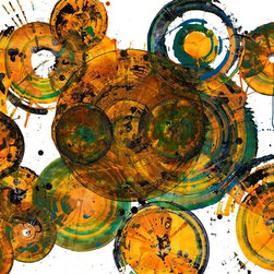 Golden Shades Of Spheres - 1272-B.121112 , Original, Painting - Original fine art that is energetic, colorful, contemporary abstract expressionistic inspired original modern oil paintings.  Additional images is for display purposes only and shows what the painting would look like on a colored wall.  Oil painting with ink & gouache on heavy Strathmore 4ply acid free paper.  All paintings have high quality materials in order to be archival.