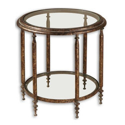 Uttermost - Grace Feyock Leilani Accent Table - Designer: Grace Feyock. Made of Metal, Mdf & Glass. 22 in. W x 22 in. D x 23 in. HAntique gold mottled finish with tarnished brown distressing and a gray glaze with clear glass top and shelf.
