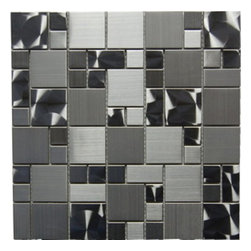Stainless Steel Magic Pattern Mosaic 12X12 Blend - Stainless Steel Mosaic 12x12 Blend The unique staggered pattern results in a stunning modern effect .This tile is ideal for steel back splashes, accent walls, fireplaces and more. The tiles in this sheet are mounted on a nylon mesh which allows for an easy installation.