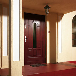 """Modern Front Entry Door - Stainless steel classic style front door. Finished with wood veneer and moisture resistant layer """"Vinorit"""" specifically designed for outdoor use. Door thickness is 83mm. The price includes full set - door, frame and hardware."""