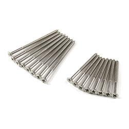 "Wood Screws Oil Rubbed Bronze/Satin Nickel, Satin Nickel, 9x2.25, 96 Pack - - Flat Head #9 x 2 1/4"" with 1 1/2"" thread"