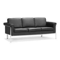 Zuo - Singular Sofa, Black - The Singular collection boasts clean lines of leatherette and chic chrome.  The Singular Sofa goes great in the living room and is sure to turn heads.  Available in black, white and terracotta.