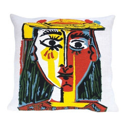 Decorative Pillow, Picasso- Head of a Woman with Hat (1962) - This French tapestry pillow from Jules Pansu, features this Picasso work of a woman in a hat painted in 1962, featuring the vivid primary colors and bold planes of his Cubist period. Jules Pansu knows how to use different techniques to recreate the strokes of a brush in this nearly identical reprodution. Jules Pansu knows how to use different techniques to recreate the strokes of a brush in this nearly identical reproduction. The Jules Pansu company is the only weaver allowed to create a collection from the paintings of Pablo Picasso with approval from the Picasso Administration. The works were reproduced without modification, in strict compliance with the original colors and in full, perfectly faithful to Picasso's paintings with the agreement of the Picasso Estate.