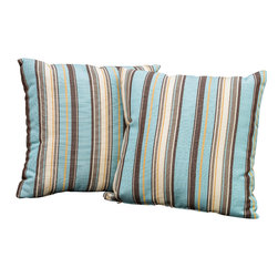"Great Deal Furniture - Celina Striped 17"" Outdoor Accent Pillow (Set of 2) - Accessorize your home with these Samara red pillows. Upholstered in Sunbrella woven fabric, a durable weather resistant material, these colorful chic accent pillows are a great option to add flare and comfort to your home. Use them indoors or to accessorize your outdoor seating set."