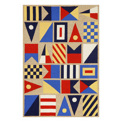 """Trans-Ocean Inc - Signal Flags Natural 7'6"""" x 9'6"""" Indoor/Outdoor Rug - Richly blended colors add vitality and sophistication to playful novelty designs. Lightweight loosely tufted Indoor Outdoor rugs made of synthetic materials in China and UV stabilized to resist fading. These whimsical rugs are sure to liven up any indoor or outdoor space, and their easy care and durability make them ideal for kitchens, bathrooms, and porches; Primary color: Natural;"""