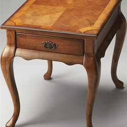 Butler - Wooden End Table - Cherry veneer top framed within olive ash burl veneers. Maple and walnut veneer linen-fold inlaid designs at each corner. Drawer with antique brass finished hardware. Made from solid wood. 21 in. W x 26.5 in. D x 24.25 in. H (40 lbs.)Queen Anne-inspired end table is a tribute to the elegant homes of early America.