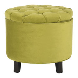 Safavieh - Safavieh Amelia Asparagus Tufted Storage Ottoman - This Amelia storage ottoman is transitional in design with a button-tufted, removable quilted top and oak legs with a rich espresso finish. Practical and fashionable, the Amelia tufted ottoman is upholstered in light green cotton velvet.