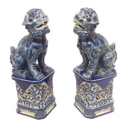 Blue and White Foo Dogs - China Furniture Online - There is nothing more classic in Chinoiserie decor than a beautiful pair of blue and white foo dogs. These will make a statement on an entry table, a fireplace mantel, a dining room sideboard, or wherever you put them.