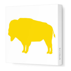 "Avalisa - Silhouette - Buffalo Stretched Wall Art, 28"" x 28"", Yellow - A symbol of strength and abundance, the buffalo will bring positive energy to your home. Hang this stretched wall art in your choice of colors on a white background wherever you want to pump up the good vibes."