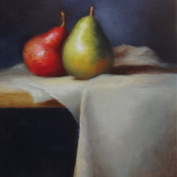 Fine Art Still Life Painting, titled Pears Artwork - Original oil painting on stretched canvas, measuring 6in. x 8in. x .75in.. Unframed, see second photo for a framing suggestion. Signed and dated in the lower left corner. Beautiful colors and an interesting design make this piece a one of a kind!
