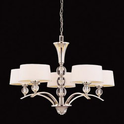 Joshua Marshal - Five Light White Shade Polished Nickel Drum Shade Chandelier - Five Light White Shade Polished Nickel Drum Shade Chandelier