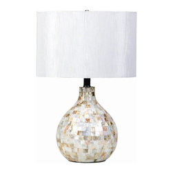 Coaster - Mosaic Table Lamp - Contemporary style. Unique lined texture reminiscent of raw silk. White drum shade. Rounded base. 21 in. H. WarrantyTake home this mosaic look table lamp for a chic, contemporary look with just a hint of coastal style. The subtle sheen cast by the lamp's slightly iridescent tiles is repeated on the shade for a harmonious and impossibly stylish look. The perfect addition to contemporary, casual or coastal styles of decor.