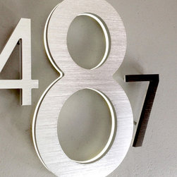 "Luxello - Modern 8"" and 10"" Illuminated House Numbers Outdoor - The Luxello Modern 8"" Address Numbers and the larger 10"" Building House Address Numbers are large exterior LED illuminated House Numbers suitable for outdoor houses and commercial buildings installations that require a high visibility of large numbers."
