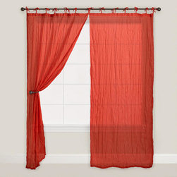 Red Crinkle Voile Cotton Curtain -