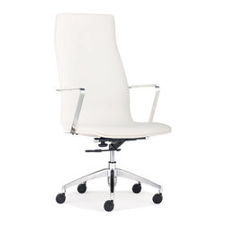 ZUO - Herald High Back Office Chair - White - One of our sleekest office chairs, the Herald High Back Office Chair is clean and simple. Soft leatherette covers a chromed steel rolling frame. Comes in black, white or gray.