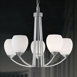 None - Spray-painted Satin Nickel Contemporary 5-light Chandelier - Add a modern feel to any room in your home with this spray-painted satin nickel contemporary chandelier. This elegant unit features white glass shades, which create a soft and relaxing light. Added hardware makes it easy to assemble.
