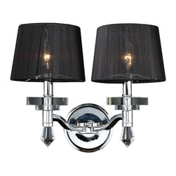 "Worldwide Lighting - Gatsby 2 Light Chrome Finish Crystal Wall Sconce with Black String Shade 17"" W - This stunning 2-light wall sconce only uses the best quality material and workmanship ensuring a beautiful heirloom quality piece. Featuring a radiant chrome finish, beautiful curved arms with black string shades which support 2 candelabra lights and crystal embellishments made of finely cut premium grade 30% full lead crystal, this chandelier will give any room sparkle and glamour. Worldwide Lighting Corporation is a privately owned manufacturer of high quality crystal chandeliers, pendants, surface mounts, sconces and custom decorative lighting products for the residential, hospitality and commercial building markets. Our high quality crystals meet all standards of perfection, possessing lead oxide of 30% that is above industry standards and can be seen in prestigious homes, hotels, restaurants, casinos, and churches across the country. Our mission is to enhance your lighting needs with exceptional quality fixtures at a reasonable price."