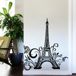 ColorfulHall Co., LTD - Paris Eiffel Tower Wall Decals with Butterfly Flower Construction Wall Decals - You will find hundreds of affordable peel - and - stick wall decal designs, suitable for all kinds of tastes and every room in your house, including a children's movie theme, characters, sports, romantic, and home decor designs from country to urban chic. Different from traditional decals, vinyl wall decals is with low adhesive that allows you to reposition as often as you like without damaging the paint. Application is easy: peel offer the pre-cut elements on the design with a transfer film, and then apply it to your wall. Brighten your walls and add flair to your room is just as easy.