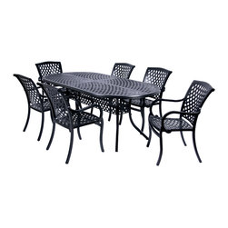 "Classic 7pc Dining Set, Black - The Classic Collection 7pc Dining Set includes 6 arm chairs and one 82"" oval table. This durable, aluminum set in a black powder coat finish features a timeless design that is sure to add beauty to any outdoor living area. The arm chair incorporates a cast contoured seat and back, providing superior comfort."