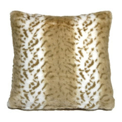 Pillow Decor - Pillow Decor - Tawny Lynx Faux Fur 20x20 Throw Pillow - Broad light caramel stripes and tawny brown markings give this beautiful faux fur throw pillow warmth and charm. With a half inch fur length, it is wonderfully soft and welcoming. Its 20x20 inch size makes it suitable for sofas, sectionals or as a lounge pillow on the floor or bed.