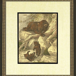 Wendover Art - Brown Bear - This striking Giclee on Paper print adds subtle style to any space. A beautifully framed piece of art has a huge impact on a room for relatively low cost! Many designers and home owners select art first and plan decor around it or you can add artwork to your space as a finishing touch. This spectacular print really draws your eye and can create a focal point over a piece of furniture or above a mantel. In a large room or on a large wall, combine multiple works of art to in the same style or color range to create a cohesive and stylish space! This striking image is beautifully framed in black and leaf.