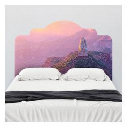J. Paul Moore - Paul Moore's Sunset Over Mt. Hayden Headboard Wall Decal - Purple mountains majesty, indeed! This adhesive headboard wall decal featuring