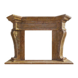 Marble Fireplaces Mantels - A corbel leg style travertine fireplace mantel. Leaves carved into the sides of the two legs. Large mantel shelf and hearth. A Mediterranean style fireplace surround hand carved.