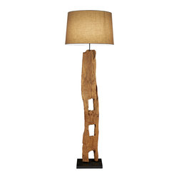 Scandinavian Design - Old Farm Post Floor Lamp - Old Thai Farm PostTeak Floor lamp made of natural Teak with coarse linen shade Add a touch of grace to your room with this floor lamp, Scandinavian Designed that provides high quality craftsmanship that is truly magnificent, On line On/Off Foot switch, UL Listed, One 60 Watts Bulb Socket