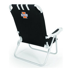 "Picnic Time - University of Illinois Monaco Beach Chair Black - The Monaco Beach Chair is the lightweight, portable chair that provides comfortable seating on the go. It features a 34"" reclining seat back with a 19.5"" seat, and sits 11"" off the ground. Made of durable polyester on an aluminum frame, the Monaco Beach Chair features six chair back positions and an integrated cup holder in the armrest. Convenient backpack straps free your hands so you can carry other items to your destination. Rest and relaxation come easy in the Monaco Beach Chair!; College Name: University of Illinois; Mascot: Fighting Illini; Decoration: Digital Print"