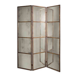 Uttermost - Avidan 3-Panel Screen Mirror - Traditional panel screens are a great way to divide up a large space, create privacy or generally add dimension to a room. Play up the vintage look of the antiqued mirrors and gold finishes for a rich layer of style. The mirrors will reflect a soft and flattering light no matter where they are placed.