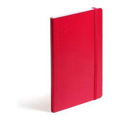 Poppin - Soft Cover Notebook, Red, Medium - Keep your little black book — or play the field in a rainbow of colors. This notebook features 192 white ruled pages for your field notes, love poems and bright ideas, and it has an interior pocket, elastic closure and an orange bookmark so you know your place.