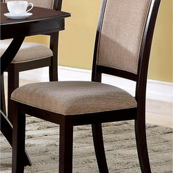 None - Basilic Casual Dining Chairs (Set of 2) - These Basilic casual dinning chairs feature solid wood construction and soft, durable fabric upholstery. The rich cappuccino finish on the frame adds a dash of sophistication to complement any modern decor.