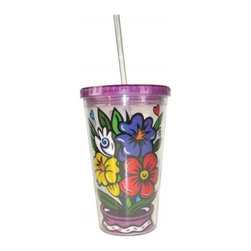 Westland - 9 Inch Decorated Flowers in a Vase Tumbler with Straw, 16 Oz. - Purple - This gorgeous 9 Inch Decorated Flowers in A Vase Tumbler with Straw, 16 oz. - Purple has the finest details and highest quality you will find anywhere! 9 Inch Decorated Flowers in A Vase Tumbler with Straw, 16 oz. - Purple is truly remarkable.
