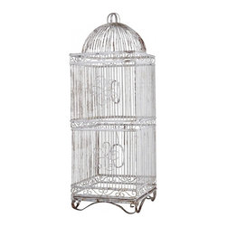 Wire Bird Cage-XL - A vintage dome top birdacage with an incredible patina. Old original white pait with desirable signs of rust on this time worn piece. Two functioning doors, decorative scrolls, and removable clean pan.