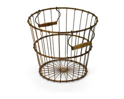 Vintage Chic Home - Egg Basket - Add more functionality to your living, patio or garden area with the Egg Basket. This basket is exquisitely designed with quality iron material and completed with rustic finish to add an hip vintage charm to your space. It can serve you with numerous purposes and is provided with stylish handles on either sides to avail ease of portability.