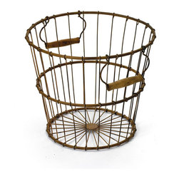 Vintage Chic Home - Go Home Egg Basket - Add more functionality to your living, patio or garden area with the Egg Basket. This basket is exquisitely designed with quality iron material and completed with rustic finish to add an hip vintage charm to your space. It can serve you with numerous purposes and is provided with stylish handles on either sides to avail ease of portability.