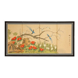 "Oriental Furniture - Birds & Flowers are One - 24"" - This Birds and Flowers motif is striking, with a pair of long tailed blue birds in flight and alight around a tree with white blossoms. Note that no two renderings are exactly the same. Subtle, beautiful hand painted wall art."