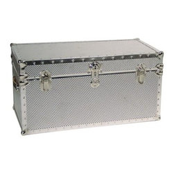 Silver Steel Trunk - Keep your treasured possessions safe and secure with the Mercury Luggage Silver Steel Trunk. This spacious trunk has high tech looks and construction and is great for storage in offices dorms or anywhere in your home. Made of strong corrugated steel this trunk is reinforced by durable nickel tacked binding and corners. The 5.5 cubic foot interior is fully lined to protect the contents and the lid locks with a key for security making this trunk perfect for protecting files or valuables. Two leather handles make the trunk easy to transport if needed. Overall dimensions: 31L x 15.5W x 15.5H inches.About Mercury Luggage Manufacturing Co.Founded in 1946 Mercury Luggage Manufacturing Co. is a privately owned corporation headquartered in Jacksonville Florida with a domestic warehouse and manufacturing space exceeding 300 000 square feet. In 1998 Mercury acquired Petersburg Virginia based Seward Trunk Co. which has been providing customers with the best trunks in the industry for over 130 years. Seward trunks are skillfully crafted in America in a variety of designs and materials. Today the partnership of Mercury and Seward has established itself as the premier supplier of high quality luggage sports bags and custom trunks and case.