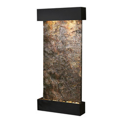 Adagio Water Features - Whispering Creek Wall Fountain, Textured Black, Solid Green Slate - The perfect indoor fountain for home or office.
