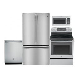 "GE - GNE26GSDSS 36"" Freestanding French Door Refrigerator 4-Piece Stainless Steel Kit - 263 cu ft Capacity French Door Refrigerator Advanced Filtration System TurboCool and TurboFreeze Settings QuickSpace Shelf TwinChill Evaporators Energy Star Qualified"