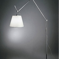 """Artemide - Tolomeo mega floor lamp - Product Details:   The Tolomeo mega floor lamp from Artemide has been designed by Michele De Lucchi. This floor standing luminaire is perfect for incandescent or halogen direct and indirect diffused lighting. The Tolomeo mega, s fully adjustable arm body structure is made of extruded aluminum in a brilliant polished anodized finish. The joints and tension control knobs are in die-cast polished aluminum. The diffuser with aluminum frame, is available in grey or parchement colored polycarbonate fiber blend. The diffuser is available in three sizes small (12""""= 32cm ) medium (14"""" = 36cm ) and large (17"""" = 42cm ). The Tolomeo mega floor lamp is a wonderful depiction of elegance and cutting edge design that is sure to brighten any atmosphere. Dimmer incorporated on cord. (110V version only)    Details:                                Manufacturer:               Artemide                                  Designer:                            Michele De Lucchi                                                Made in:              Italy                                  Dimensions:                             Height: 130""""-131.5"""" (330-335cm) X Width: 13"""" (33 cm)              Shade diameter small: 12"""" (32cm)              Shade diameter medium: 14"""" (36cm)              Shade diameter large: 17"""" (42cm)                                                Light bulb:                             1 X 150W incandescent or 1 X 150W halogen                                                Material:               steel, aluminum, polycarbonate                    ......more information on The Tolomeo Mega Floor Lamp  Floor lamps are fabulous lighting options to brighten up any dark corner. The biggest advantage of floor lamps is that they can be conveniently moved around to illuminate an area which does not have a table or shelf to hold table lamps. Floor lamps have been revamped to suit and match the décor of any house. The Tolomeo Mega floor lamp has taken conven"""