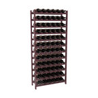 72 Bottle Stackable Wine Rack in Pine with Burgundy Stain + Satin Finish - Four kits of wine racks for sale prices less than three of our 18 bottle Stackables! This rack gives you the ability to store 6 full cases of wine in one spot. Strong wooden dowels allow you to add more units as you need them. These DIY wine racks are perfect for young collections and expert connoisseurs.