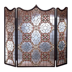 Meyda Tiffany - Meyda Tiffany Victorian Beveled Fireplace Screen X-29084 - This Meyda Tiffany fireplace screen features bevel detailing and curves that play off the Victorian-inspired charm of the design. The intricate knot work and other detailing are highlighted by beautiful shades of green and red, with a clear backdrop to complete the look.