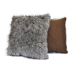 Sherry Kline - Sherry Kline Grey Wolf Faux Fur Decorative Pillow (Set of 2) - Bring exotic warmth to the atmosphere of your home with this faux fur pillow set. Featuring a luxurious grey wolf fur on one side and a suede texture on the other,this reversible set of two pillows are fashionable and easy to spot clean.