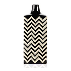 Ottavio Vase, Black & White - Everyone is always looking for accessories for bookshelves. Why not this chevron vase? Add a bright Gerber daisy, and you have a beautiful, natural, artistic piece for the room.