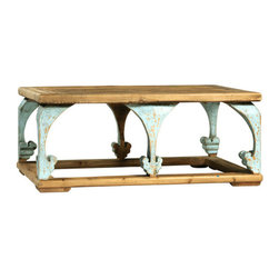 Accent Decor - Beijing Coffee Table - Solid reclaimed elm. Light sealed finish. Distressed paint on legs.
