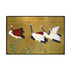 China Furniture and Arts - Hand Painted Cranes Wall Plaque - Cranes are symbols of peace, longevity and happiness in Chinese culture. They are depicted here exquisitely hand painted on a gold-leaf over wood surface. Matching brass hangers are included.